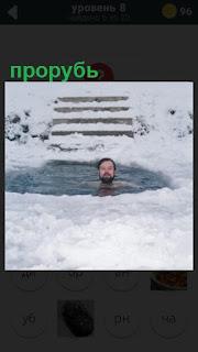 мужчина зимой купается в прорубе