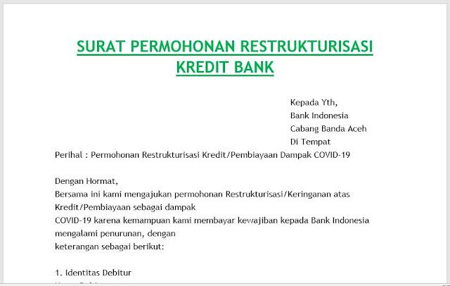 Surat Permohonan Restrukturisasi Kredit Bank