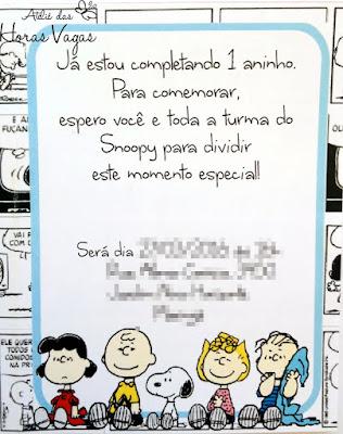 convite aniversário artesanal infantil personalizado snoopy peanults charlie brown quadrinhos 3d