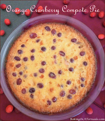 Orange Cranberry Compote Pie, a graham cracker crust, cranberry compote and a creamy orange filling perfectly balances sweet and tart. | recipe developed by www.BakingInATornado.com | #recipe #pie