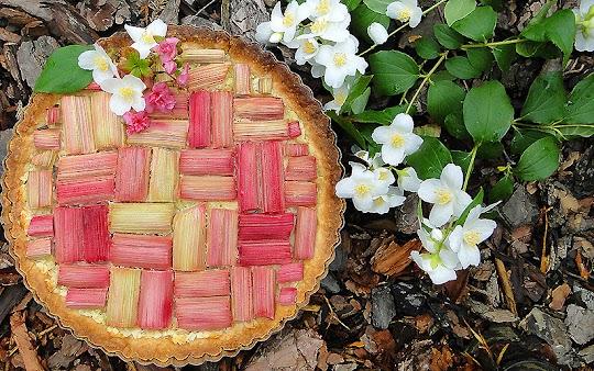 Tarta z rabarbarem i kremem migdałowym