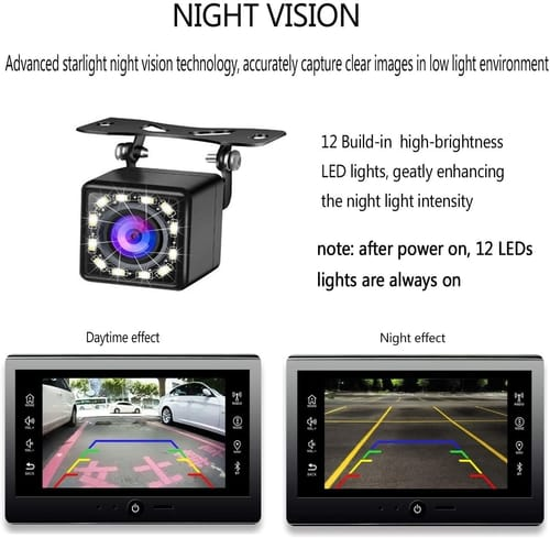 Casoda Backup Camera for Car HD 12 LED Wide View