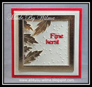 """Christmas card with a """"gold"""" frame and """"gold"""" leaves."""