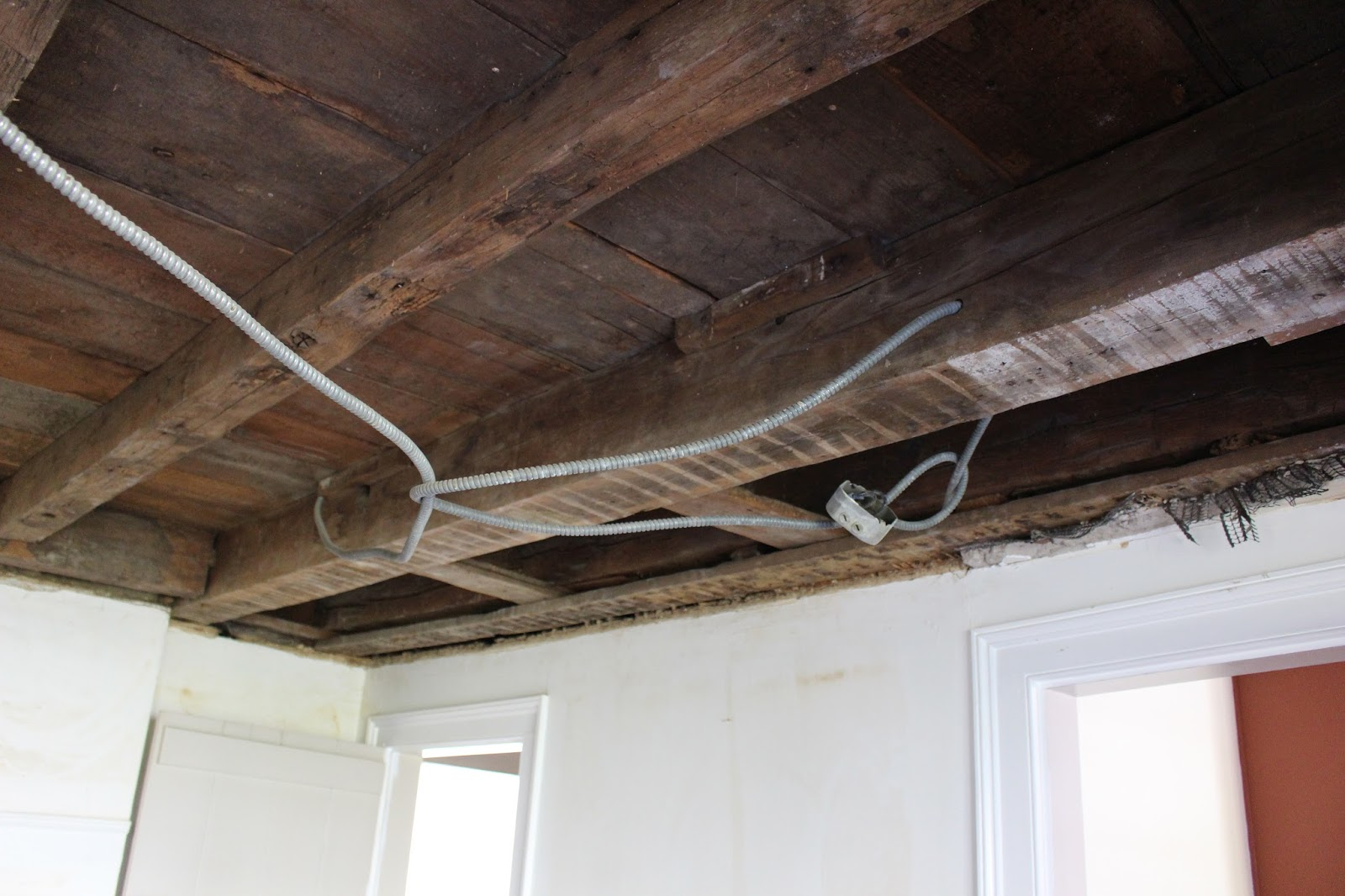 electrical running through ceiling beams