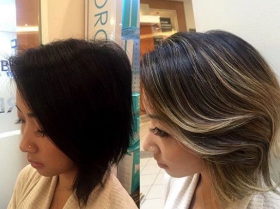 Trate de balayage de pelo corto. Lo más destacado acertadamente es arrastrado a lo largo para dar la facilidad de la mirada y el movimiento.