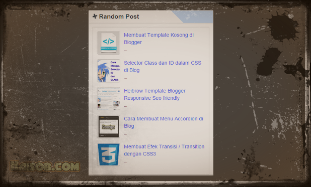 Memasang Widget Random Post Bergerak V.1 For Blogspot