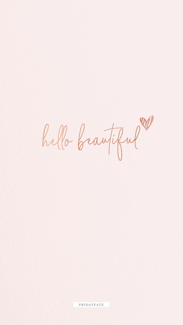 "Text on pink background ""Hello Beautiful"""