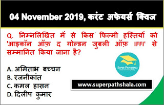 Daily Current Affairs Quiz in Hindi 04 November 2019