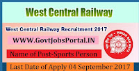 West Central Railway Recruitment 2017– 21 Sports Person