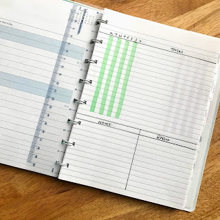 self designed layout for planning in a Filofax refillable notebook