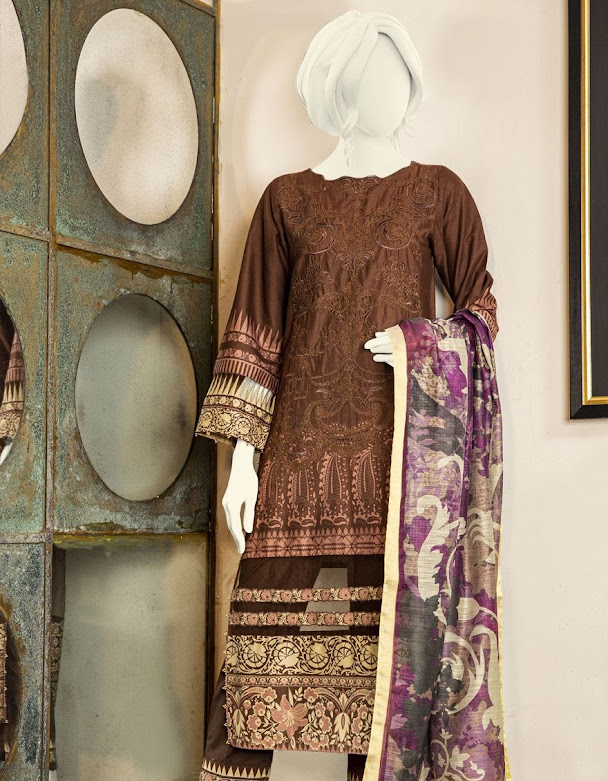 J. Junaid Jamshed brown color crambric suits winter collection