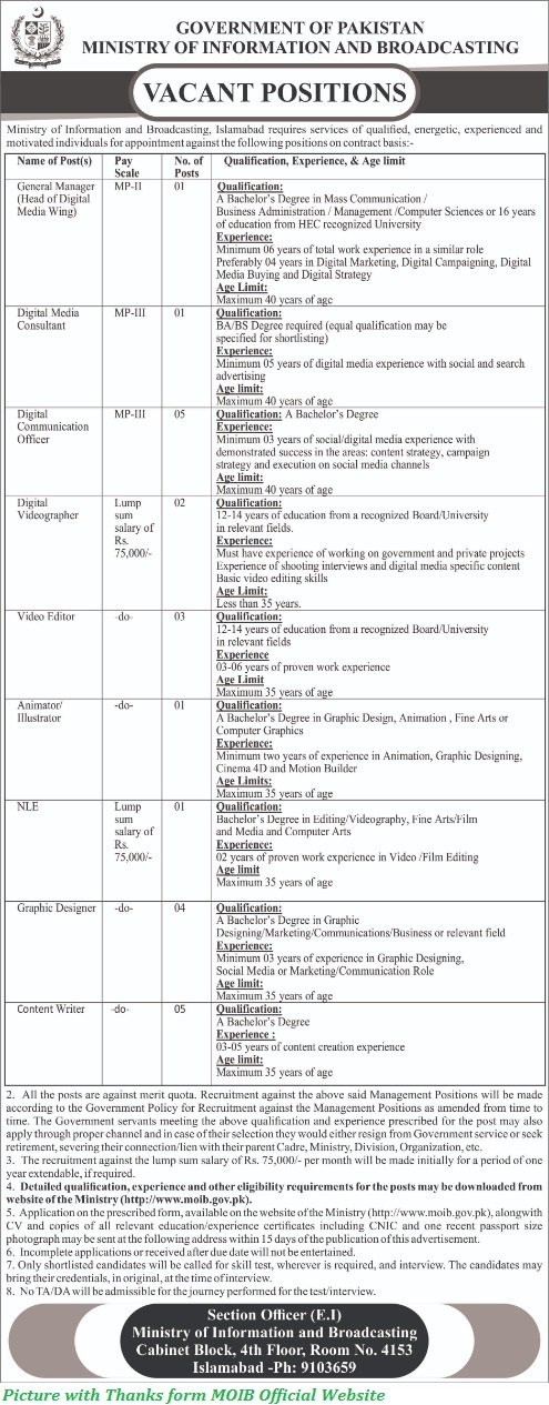 Govt of Pakistan Ministry Ministry of Information and Broadcasting Latest Jobs 2020