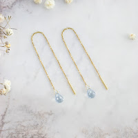 Aquamarine threader earrings in 14k yellow gold
