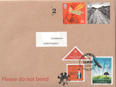 Mail bearing latest Canvey Local Post stamps in April 2021
