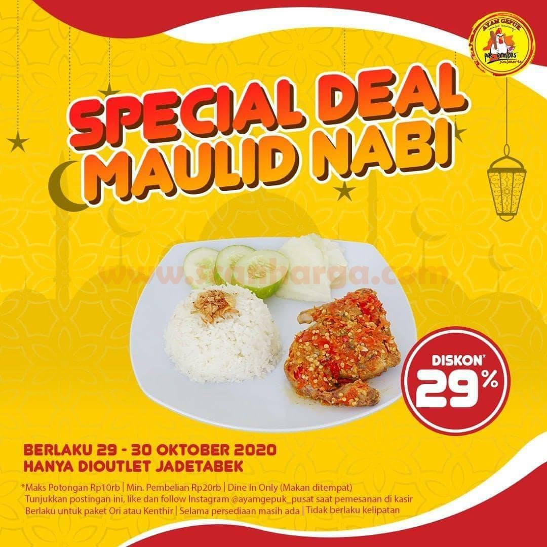 Promo Ayam Gepuk Pak Gembus Spesial Deal Maulid Nabi Diskon 29%