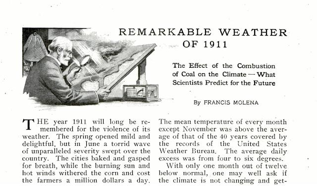 Article sur le changement climatique anthropique dans un magazine du début du XXe siècle
