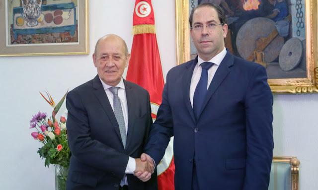 يوسف الشاهد يلتقي وزير الخارجية الفرنسي