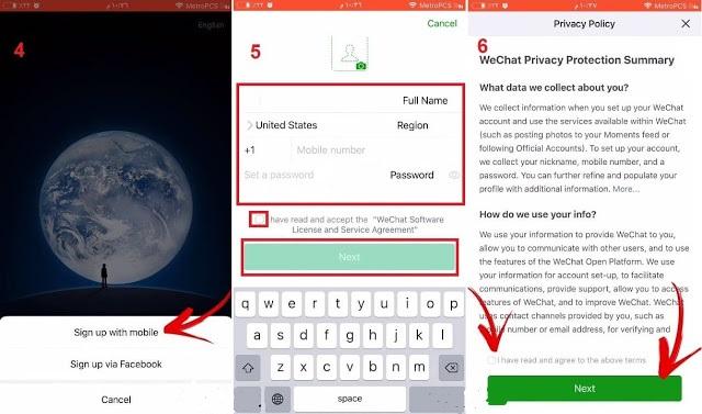 التسجيل في برنامج وي شات WeChat