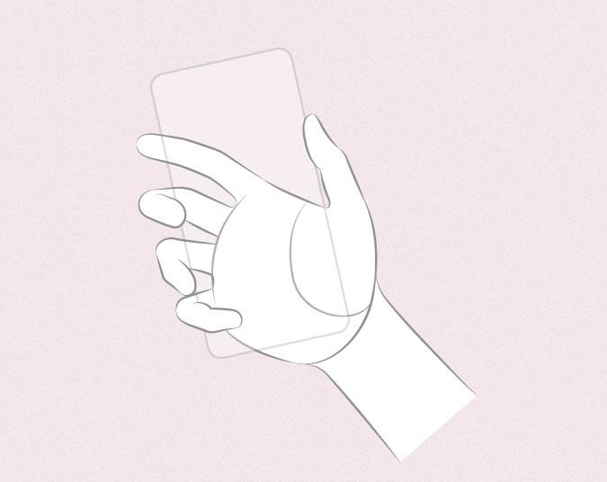Anime tangan memegang sketsa telepon