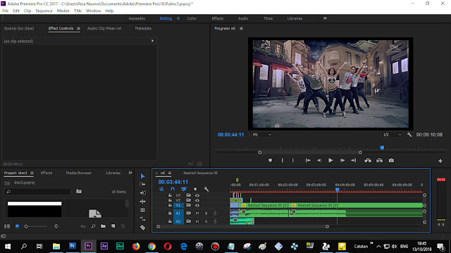 Tampilan Adobe Premiere