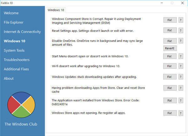 برنامج fixWin10 لحل المشاكل في نظام ويندوز 10