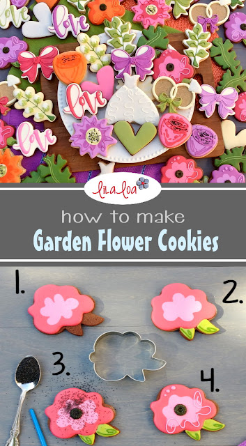 How to make garden wedding flower decorated sugar cookies - tutorial and flower cookie ideas