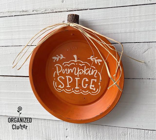 Photo of a pie tin pumpkin