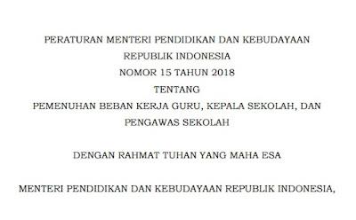 Peraturan Menteri Pendidikan Dan Kebudayaan Republik Indonesia Nomor 15 Tahun 2018