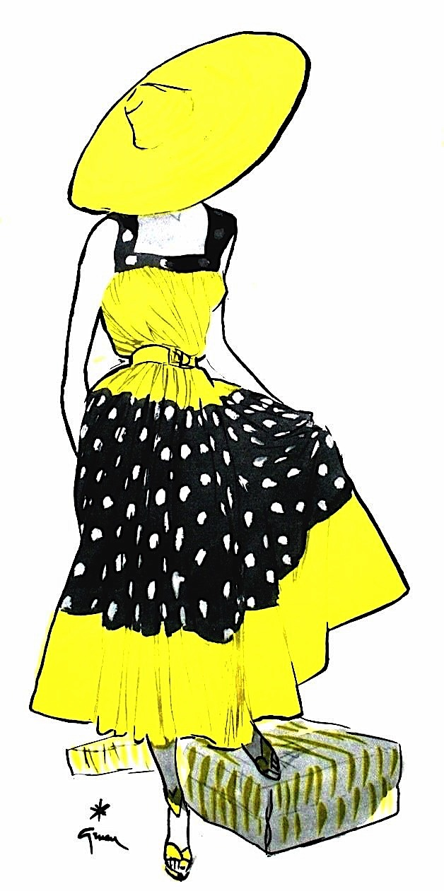 a René Gruau fashion illustration of a woman in yellow and black