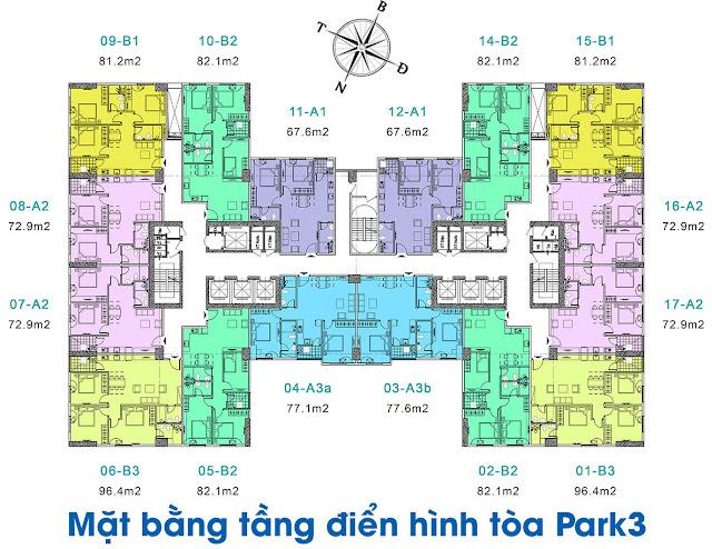 Mặt bằng tổng thể tòa Park-3 chung cư EuroWindow River Park