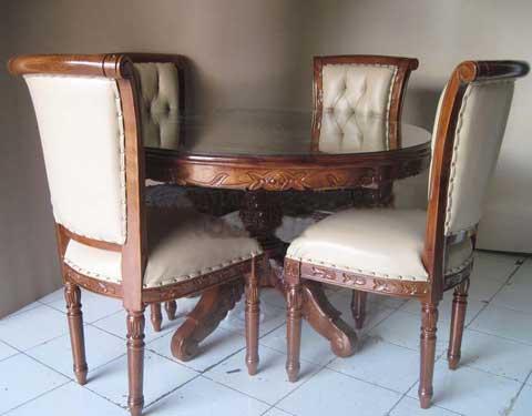 meja kursi makan jati ukir