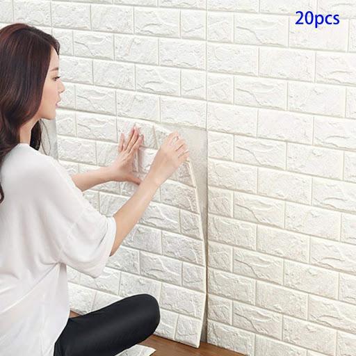 parete di mattoni bianchi