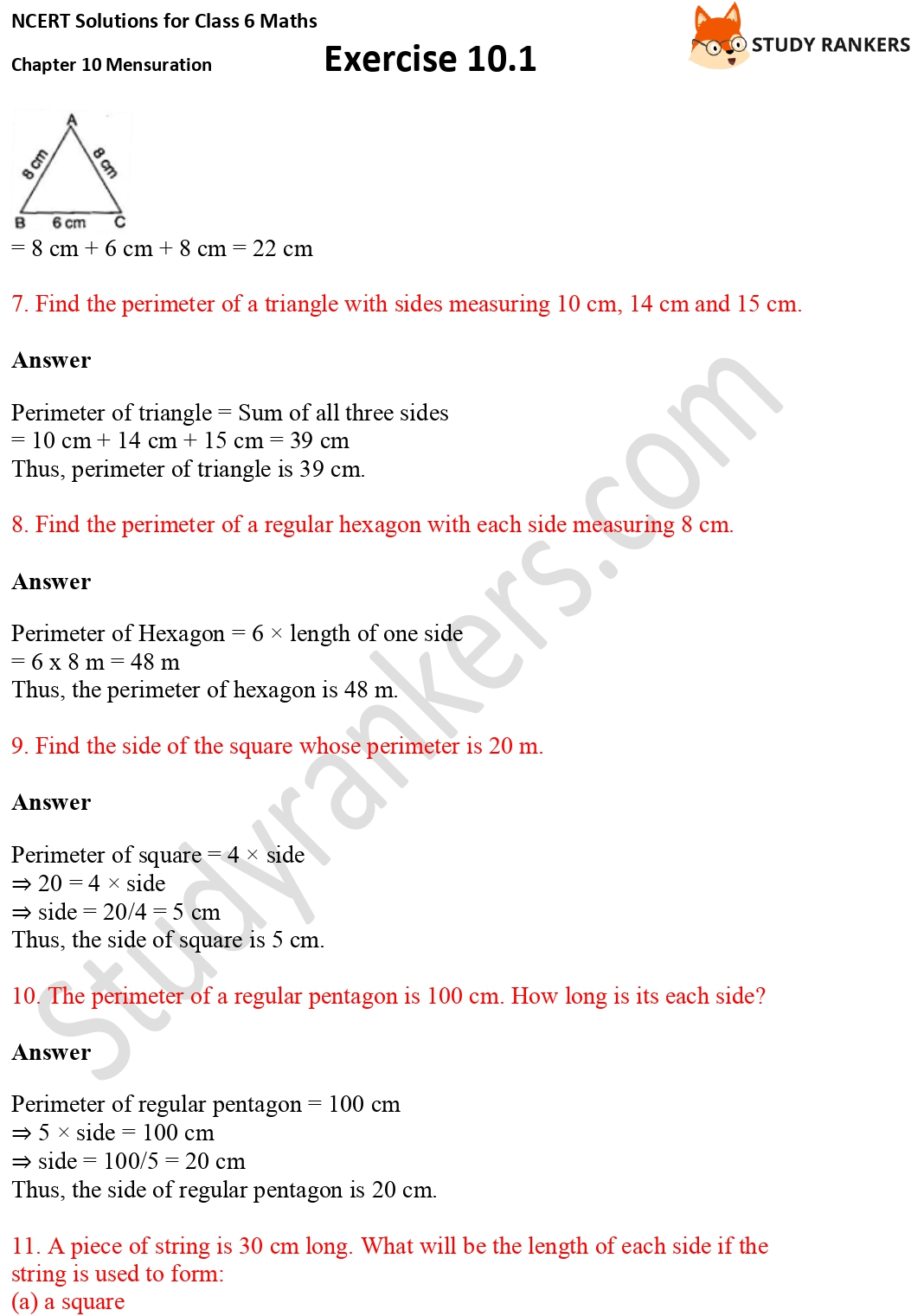 NCERT Solutions for Class 6 Maths Chapter 10 Mensuration Exercise 10.1 Part 4