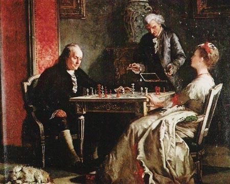 Lady Howe faisant échec et mat à Benjamin Franklin