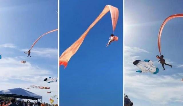بالفيديو: طائرة ورقية تسحب طفلة في سماء تايوان