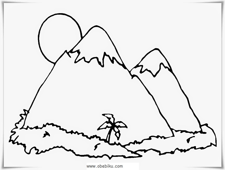 mawarnai gambar pemandangan pegunungan
