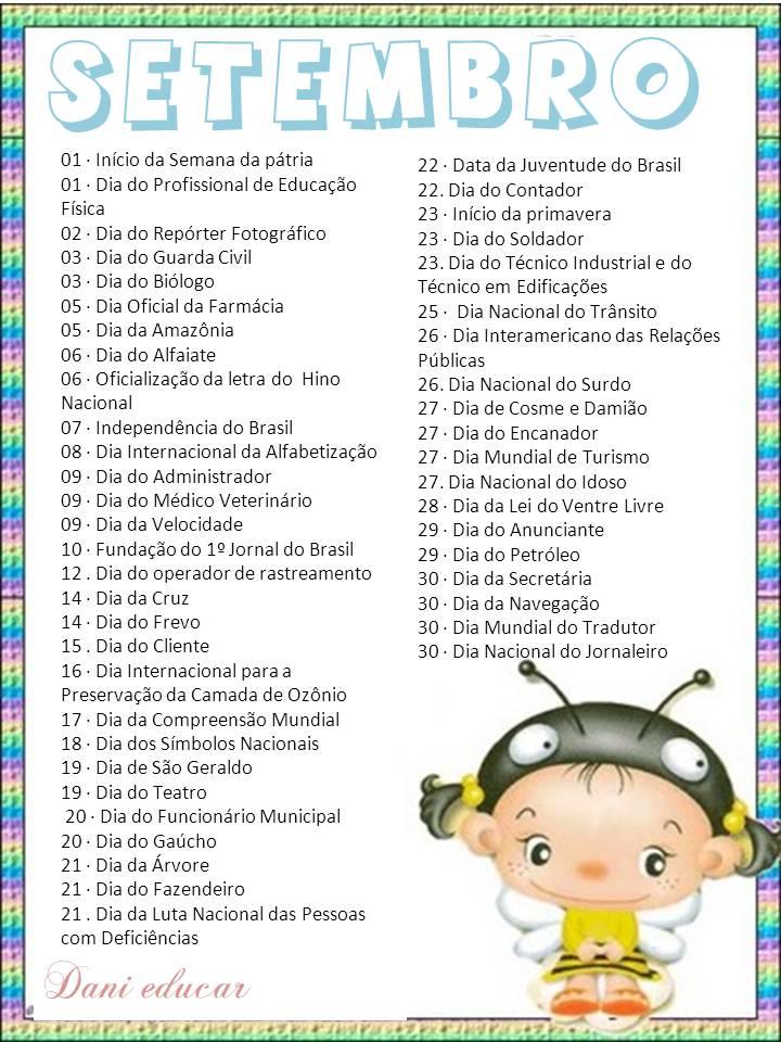Calendario De Datas Comemorativas Do Mes De