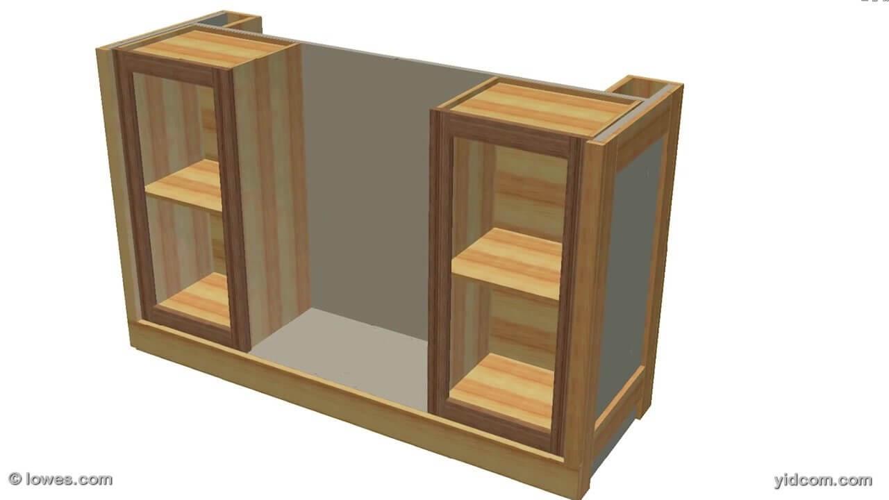 inserte los gabinetes y aadir listones a los lados para soportar las repisas que se extienden entre las dos unidades mantener el ngulo recto de los