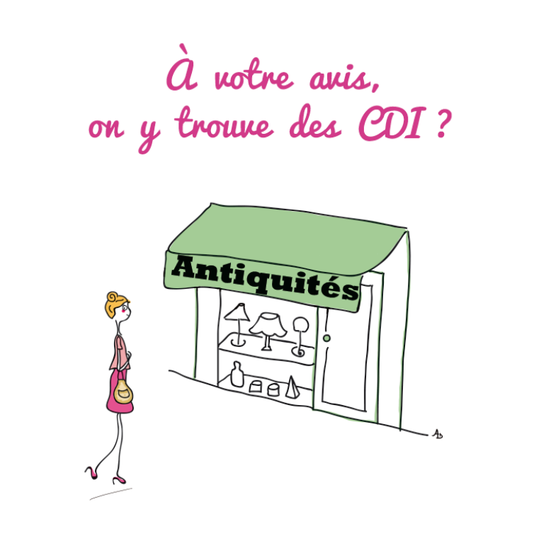 shopping antiquités antiquaire CDI, Illustration, dessin, agathe, albane devouge, antiquités, dessin, france, hausse du chômage, humour, illustrateur paris, illustration, illustratrice, pole emploi, trouver un cdi,