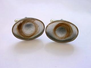 Sterling silver cufflinks for locks of hair