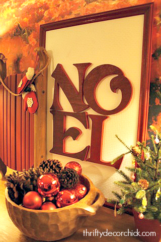 DIY NOEL sign using Goodwill frame