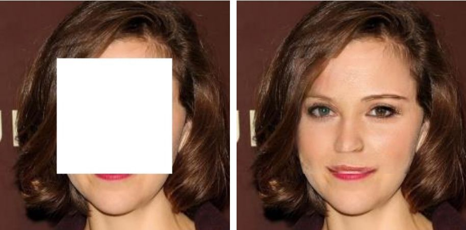 Работа алгоритма PEN-Net по восстановлению фотографии лица