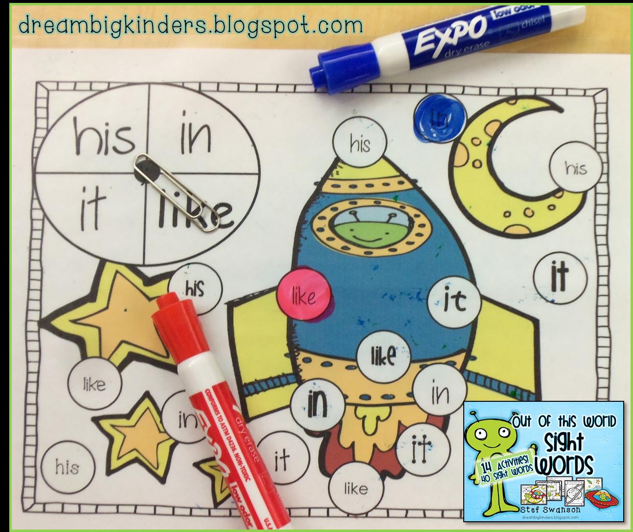 Dream Big Kinders Kindergarten Sight Word Activities And