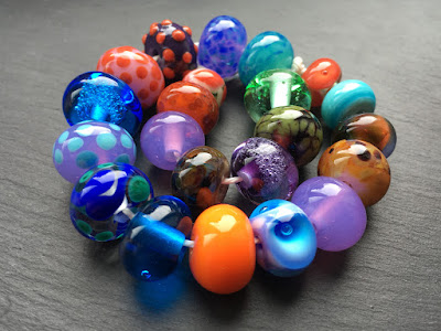 Kelly's first ever lampwork beads