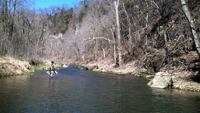 Cold spring small stream trout fishing in Southeast Minnesota.