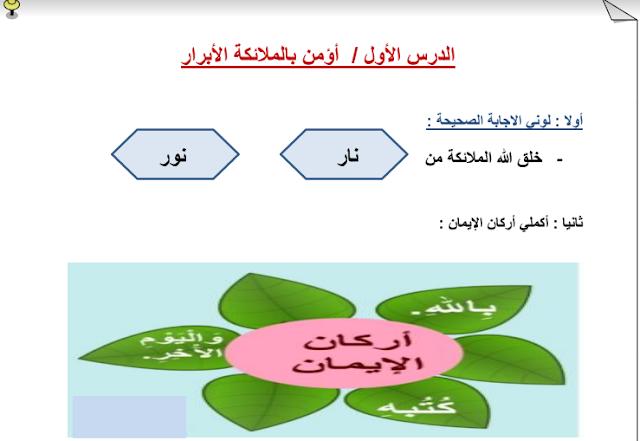 أوراق عمل تربية إسلامية الوحدة الرابعة للصف الثاني إعداد فجر الكندري