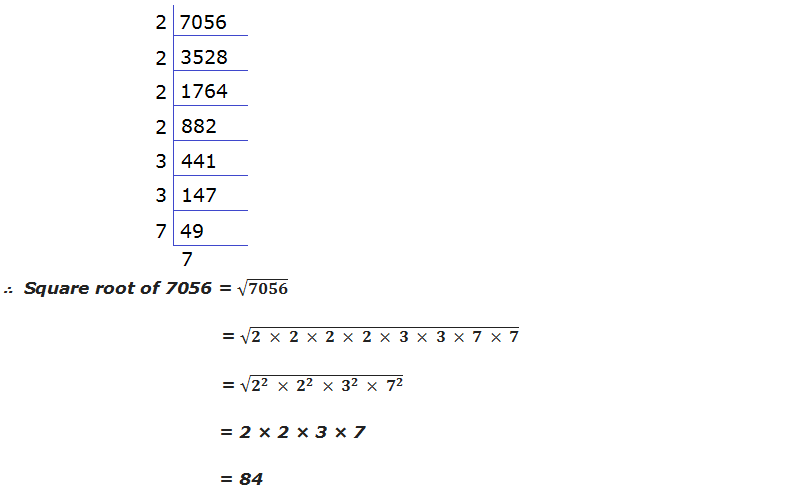 Square root of 7056 by prime factorization method