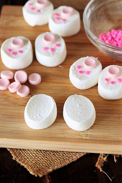 Cut Marshmallows to Make Bunny Butt Feet Image