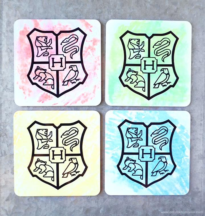 DIY Hogwarts House Coaster Set