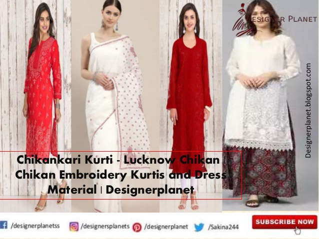 Chikankari Kurti - Lucknow Chikan | Chikan Embroidery Kurtis and Dress Material | Designerplanet